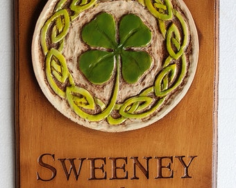 Personalized Irish Home Sign with Shamrock and Celtic Knot Carved Design