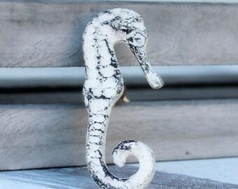 White Distressed Seahorse Drawer Pull Knob Nautical Cabinet Knob Dresser Knob Rustic