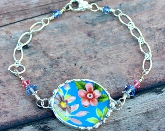 Broken China Jewelry Heart Bracelet Pink and Blue Floral Chintz Sterling Silver ChainOubj