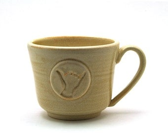 Shaka Mug: Cream Hang Loose Ceramic Cup, Gift for Surfers, Hawaii Aloha Spirit, Handmade Pottery Gift for Him or Her - Ready to Ship