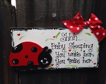 LADYBUG Baby sleeping sign wood craft painted lady bug Nursery newborn gift