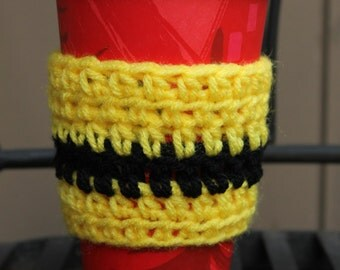 Yellow Coffee Cozy with Black Stripe