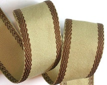 "Woven Ribbon - 1 1/2"" x 3 yd Khaki with Brown Edge - Linen Look"