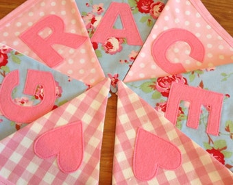 Personalised Name Personalized Name Bunting Banner Pink Floral Gingham Spots - Priced per flag