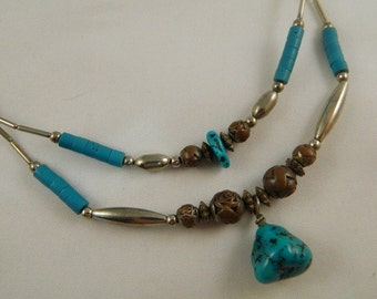 Turquoise Necklace / Vintage 1980s Necklace / Two Strand Silver and Turquoise Necklace