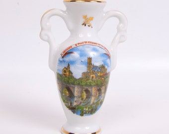 Vintage Limoges Urn Miniature Double Handled Vase Mini Ewer Made in France Cathedral St Etienne Hand Painted Porcelain