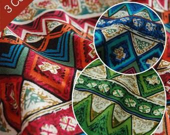 Colorful Stripe Cotton Linen Fabric BOHO Bohemian Style Garment Chair Cushion Fabric- 1/2 Yard (QT408)