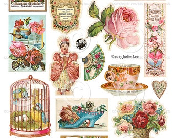 Printable Vintage Scraps  - Digital Collage Sheet as an instant Download File