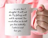 Jane Austen Mug, Pride and Prejudice Mug, Mr Darcy's Proposal, You Must Allow Me...,  Quote Mug, UK