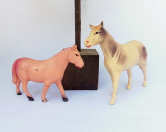 Pair of Celluloid Horses Two Lightweight Animal Toys Nativity or Putz Display