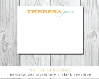 In the Headlines Printed Stationery | Flat Printed Stationery with Blank Envelopes | Printed by Darby Cards