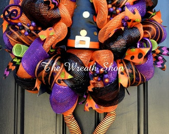 Halloween Witch Wreath - Deco Mesh Halloween Wreath with Witch Hat and Legs