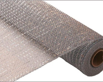 Metallic Platinum Deco Mesh with Laser Silver Foil - 21 Inches X 10Yds -  RE100184
