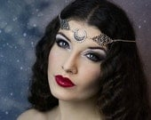 Headchain 'Crescent moon', swarovski crystal beads, head chain, art deco, gothic, goddess  * Elegant Curiosities *