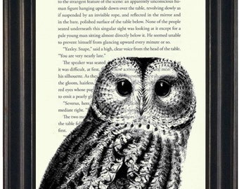 Harry Potter Book Print Owl Book Print Upcycled Book Page Harry Potter Fandom