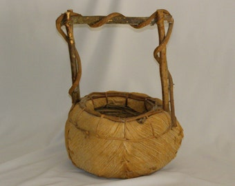 Beautifully Hand Crafted Basket Good Size Branches Bark