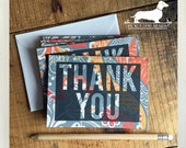 Thank You. Note Cards (Set of 5) -- (Orange, Gray, Black, Floral, Typography, Bold, Modern, Thanksgiving, Wedding, Unique, Gift Under 10)