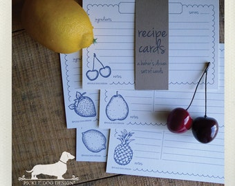 Vintage Fruit. A Baker's Dozen (Qty 13) Set of Recipe Cards -- (3x5, 4x6, Pineapple, Strawberry, Apple, Cherry, Pear, Lemon, Rustic, Gift)