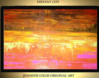 Original Large Abstract Painting Acrylic Oil Painting Modern Canvas Art  Orange Pink Yellow City Skyline 36x24 Texture Palette Knife J.Leigh