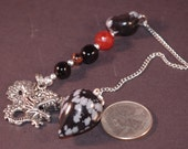 Dowsing Pendulum Snowflake Obsidian Dragon New Age OOAK Magick Divination Witchy Pagan Divination Wicca 2014p3