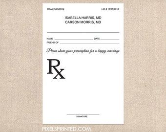 wedding prescriptions - marriage advice cards - any color - thick matte - FREE design - FREE shipping