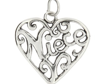 Sterling Silver Niece Charm (Flat One Side Charm)