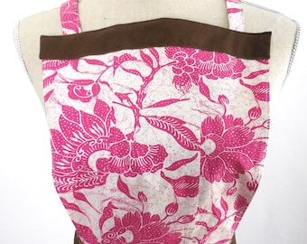 Womens' Apron - Brown and Pink Pattern - Upcycled -  Made from a Old Navy Skirt - Woman's Kitchen Apron - Cotton Print Apron -Recycled Apron