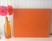 Orange Burlap Memo/Message Cork Board, 20x16 with polished Nickel Nail Head Trim