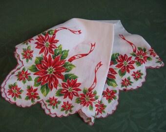 Vintage Christmas Hankie Poinsettia Handkerchief Colorful Cotton Print Hanky a Pretty Festive Vintage Holiday Accessory