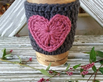 Crochet Cozy, Knitted Cozy, Coffee Cozy with heart, Adorable Cozy, Cozy with Heart, Coffee Cozy, Coffee TOGO cup cozy, Coffee sleeve
