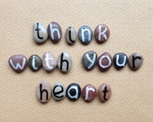 Think With Your Heart, 18 Magnets Letters, Motivational Phrase, Custom Quote, Beach Pebbles, Inspirational Words, Sea Stones, Rocks