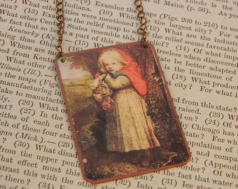 Red Riding Hood necklace literature literary Fairy tales mixed media jewelry