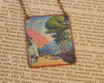 Art necklace Paul Victor Jules Signac pointilism  mixed media jewelry