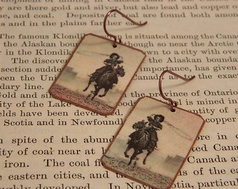 Cowgirl earrings Western jewelry Lucille Mulhall Mixed media jewelry