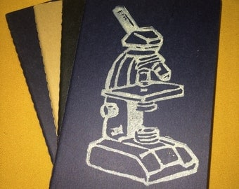 Microscope Notebook --A Handprinted Science Moleskine Pocket Notebook