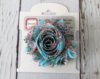 CLEARANCE Ready to Ship Baby Blue Paisley Bow, Light Blue Shabby Chic Bow, Paisley Girls Hair Clip, Baby Hair Clip