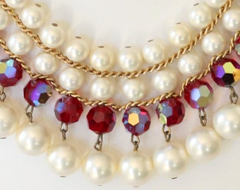 Red Crystal Glass Pearl Bib Necklace Earring Set