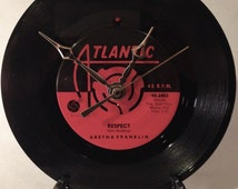 """Recycled ARETHA FRANKLIN 7"""" Record / Respect / Record Clock"""
