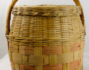 Large Round Vintage Mexican Reed Basket and Lid