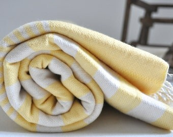 Turkish Towel Cotton Peshtemal Towel Yellow ivory striped for Bath and Beach