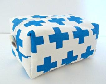 Modern Blue Cosmetic Bag - Large Makeup Bag - Waterproof Makeup Bag