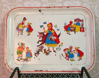 charming vintage little red riding hood metal tray