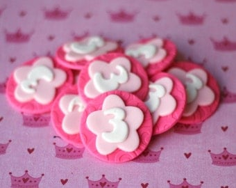 Age Number Fondant Toppers Pink fondant topper pink number topper