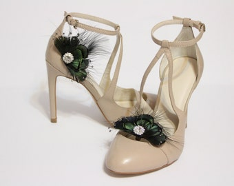 Shoe clips - iridescent green pheasant feather and black marabou with rhinestones