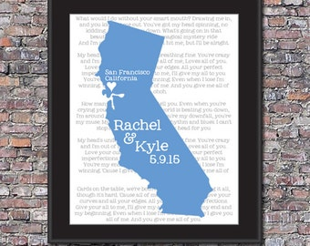 Marriage Map + Vows or Song Custom 8 x 10 Canvas