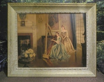 "Rare ""Harmony"" by Gail Frank ~ Oil Painting Print of Girl Playing the Harp in Ornate Solid Wood Frame - 36-1/2"" x 30-3/4"" Subject c1800's"