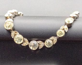 Vintage Rhinestone Necklace Art Deco Revival Jewelry, SUMMER SALE