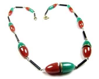 Art Deco Necklace, Carnelian Glass, Jade Glass Necklace, 1920s Vintage Jewelry, SUMMER SALE