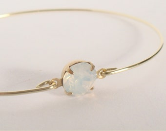 White opal faceted crystal bangle - White opal crystal bracelet - Bridesmaids gift - Everyday - Minimalist jewelry