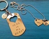 Here is my heart Custom Necklace and Keychain.  Set of Two. Personalized with initials, name or date.  Couple Jewelry.